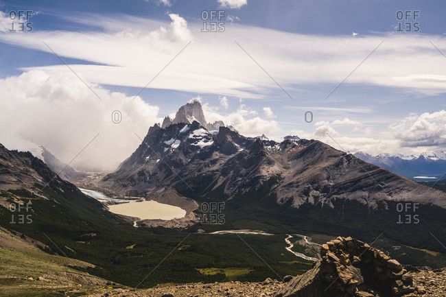 Argentina- Scenic view of mountain valley at foot of Fitz Roy mountain