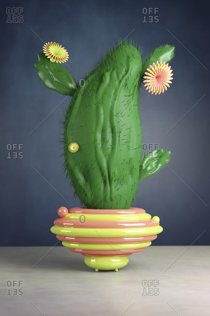 3D illustration- Plastic cactus in a futuristic vase