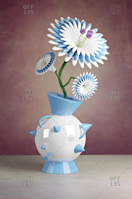 3D illustration-Plastic flower in a futuristic vase