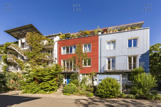Germany- Baden-Wurttemberg- Freiburg im Breisgau- Modern suburb houses in spring