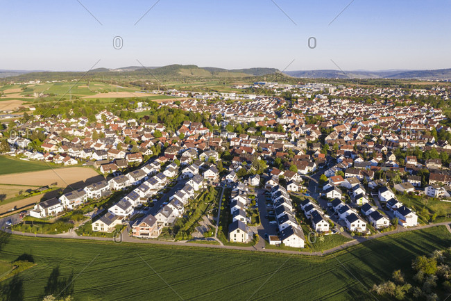 Germany- Baden-Wurttemberg- Waiblingen- Aerial view of modern suburb