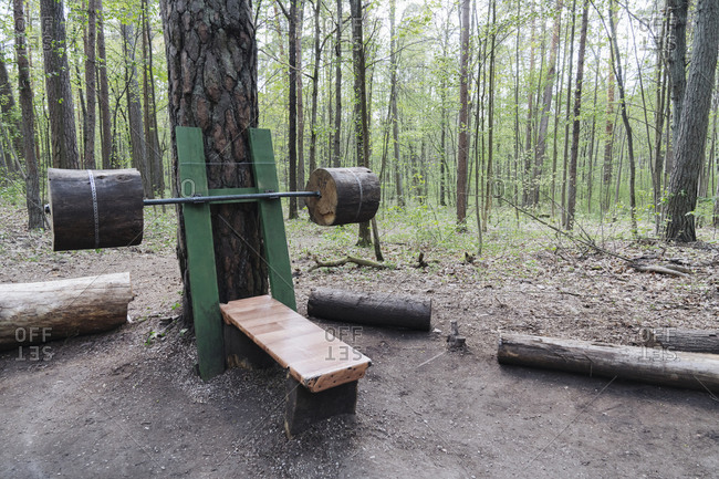 Wooden  exercise equipment in the forest