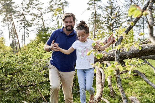 Smiling man holding hands of daughter walking on fallen tree in forest