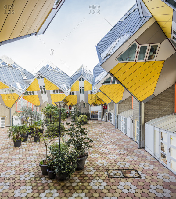"January 29, 2019: Netherlands, South Holland, Rotterdam . The Cube Houses (architect Piet Blom). The Cube houses are innovative houses based on the concept ""living as an urban roof"". These houses represents a village within a city. In the idea of the architect each house represents a tree, and all the houses together, a forest."