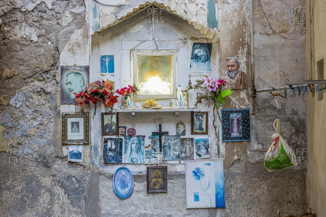 May 16, 2020: Italy, Sicily, Palermo. Typical tabernacle.
