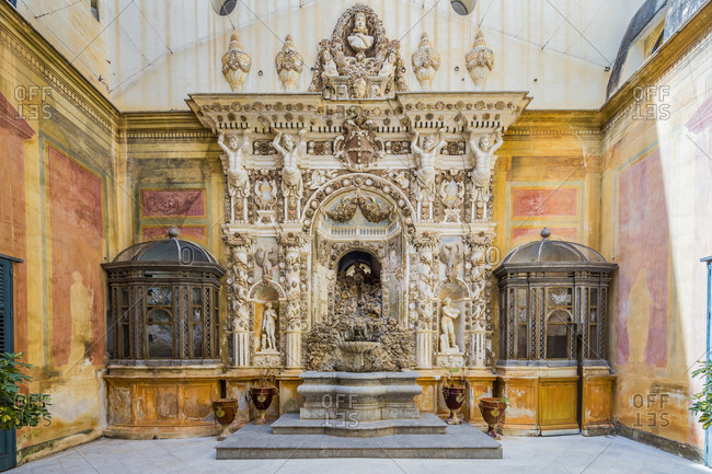May 12, 2020: Italy, Sicily, Palermo. Palazzo (palace) Mirto, the fountain in Rococo style.