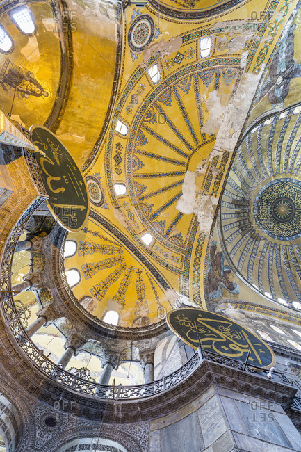 May 12, 2020: Turkey, Istanbul. Santa Sofia, Hagia Sophia or Aya Sofya, detail of the ceiling.