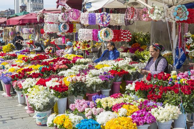 May 12, 2020: Turkey, Istanbul. Taksim, flower sellers.
