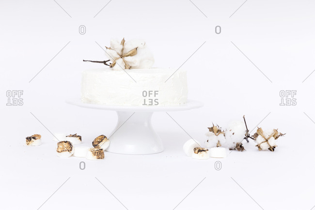 White cake with cotton plant and roasted marshmallows on white background