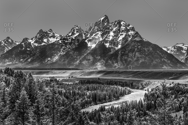 Grand Teton Mountains and the Snake River in black and white with clear sky, Wyoming