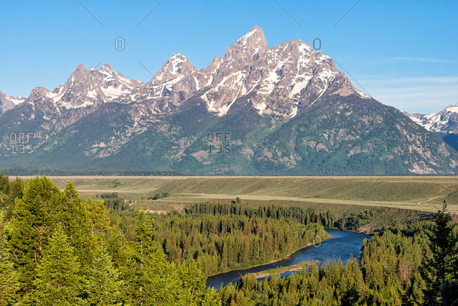 Grand Teton Mountains and the Snake River on a sunny day Wyoming, USA