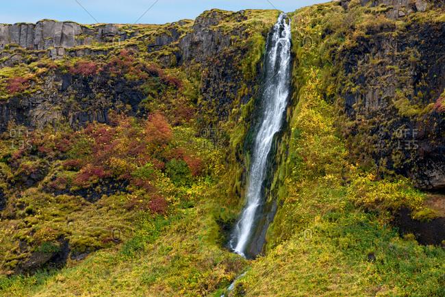 Hillside waterfall near Seljalandsfoss, Southern Iceland