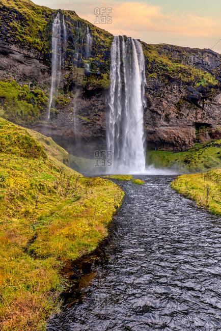 Iconic Seljalandsfoss waterfall river view, Southern Iceland