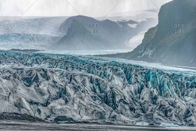Massive blue ice layers of Skaftafell Glacier, Southern Iceland