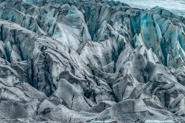 Close-up view of massive blue ice layers of Skaftafell Glacier, Southern Iceland