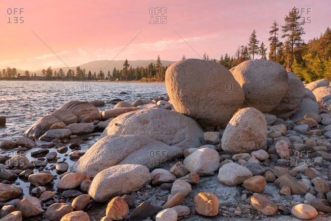 Rocks near Sand Harbor Beach at sunset in Lake Tahoe, Nevada