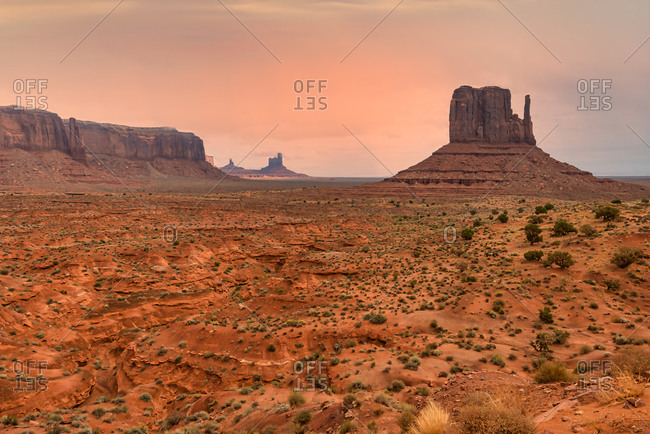 View of Mesa and West Mitten Butte, Monument Valley Navajo Tribal Park, Arizona
