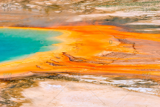 Grand Prismatic with orange bacteria mat, Yellowstone National Park