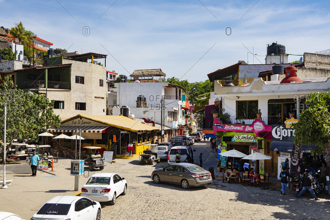 Sayulita, Mexico - June 15, 2018: Street scene in downtown Sayulita