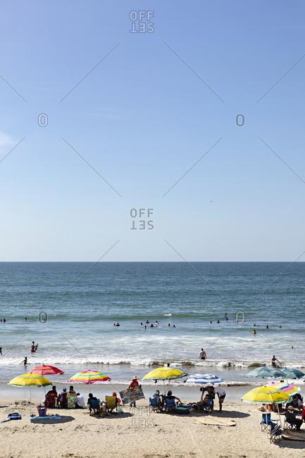 Sayulita, Mexico - June 15, 2018: Crowded beach on the Pacific coast