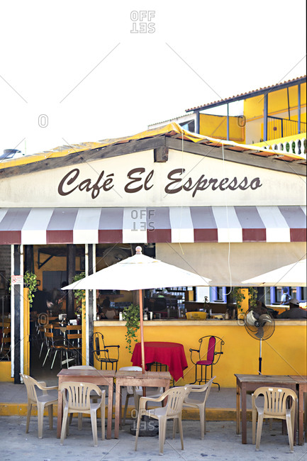 Sayulita, Mexico - June 15, 2018: Exterior of the Caf� El Espresso