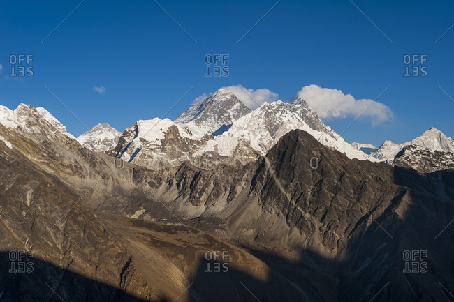 Everest, Nuptse, Lhotse and Makalu seen from the top of Gokyo Ri in Everest region of Nepal