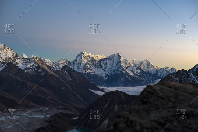 The Gokyo valley at twilight seen from the top of Gokyo Ri in Everest region of Nepal