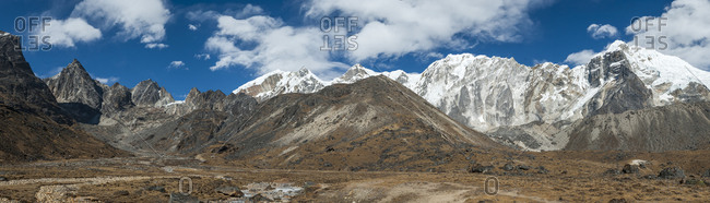 Looking up to the Cho La pass in the Everest region of Nepal