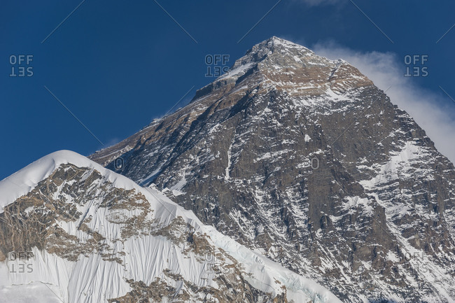 Everest, Nuptse and Lhotse seen from the top of Kala Patar in Everest region of Nepal