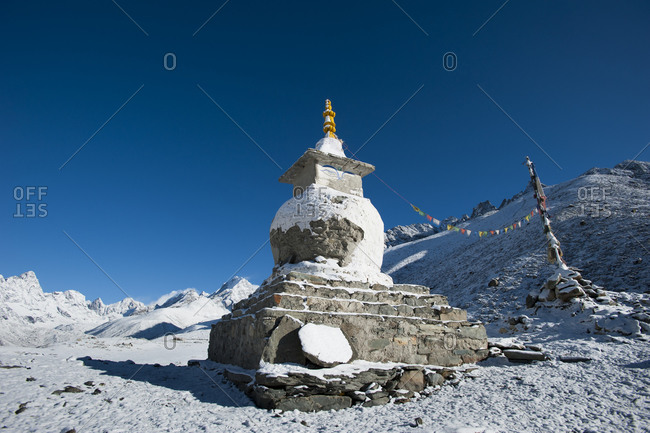 A Buddhist chorten above Dingboche in Khumbu which is the Everest region of Nepal