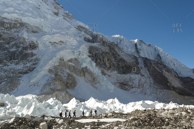 Trekkers arrive at Everest base camp in Nepal