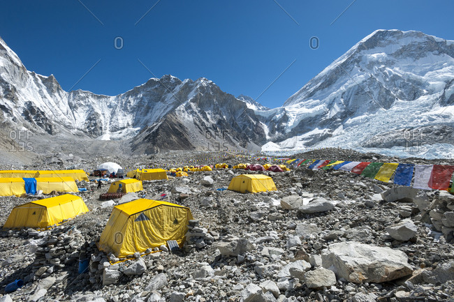 Everest Base Camp, Namche, Khumbu, Everest Region, Nepal - April 14, 2009: Everest base camp is a temporary city at 5500m on the Khumbu glacier in Nepal