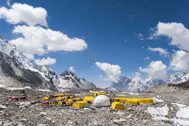 Everest base camp is a temporary city at 5500m on the Khumbu glacier in Nepal