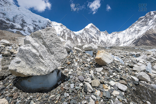 Ice mushroom formations on the Khumbu glacier at Everest Base Camp in Nepal