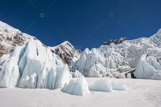 Khumbu glacier at Everest Base Camp in Nepal
