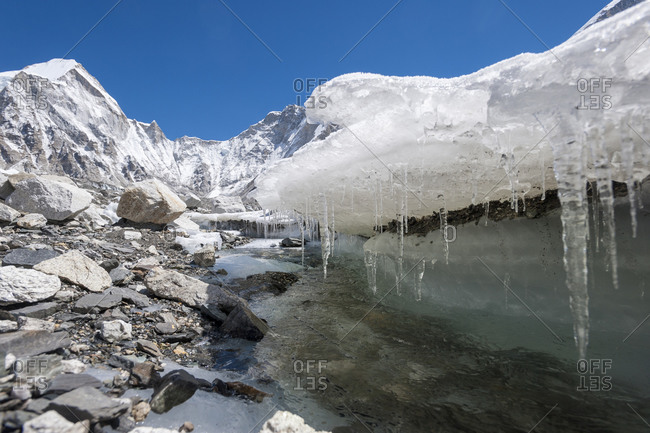 Water forms under the Khumbu glacier as the ice melts