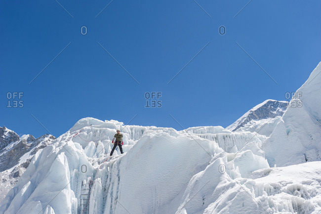Everest Base Camp, Namche, Khumbu, Everest Region, Nepal - April 17, 2009: Climbing practice on the Khumbu glacier at Everest base camp in Nepal