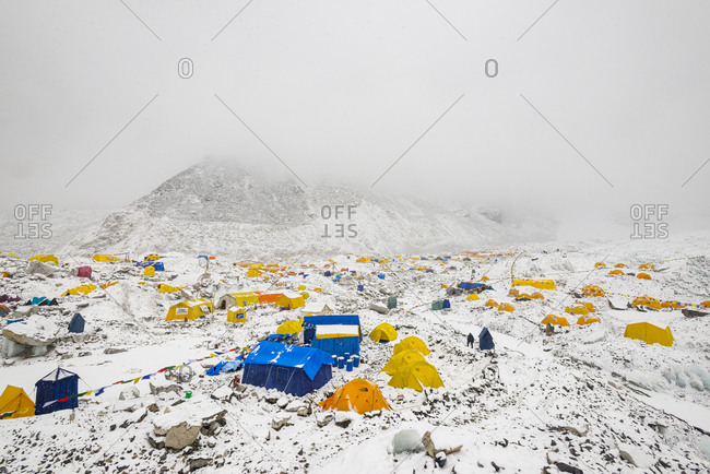Everest Base Camp, Namche, Khumbu, Everest Region, Nepal - April 17, 2013: Everest base camp on the Khumbu glacier in Nepal after a fall of snow
