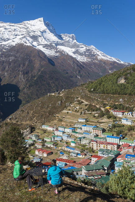 Namche the main trading center and tourist hub for the Everest region with Kongde Ri peak in the background