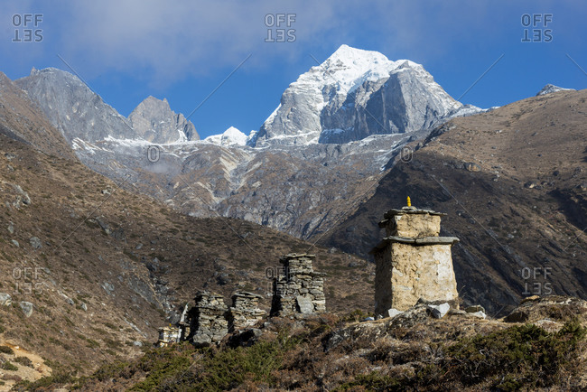 Chortens above Pangboche in the Everest region of Nepal