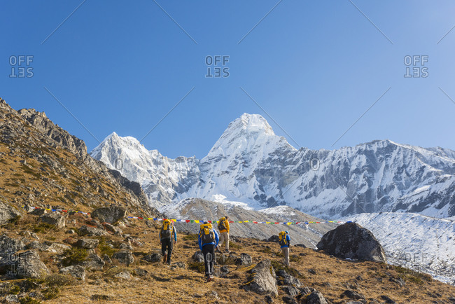 Climbers make their way to Ama Dablam base camp in the Everest region of Nepal