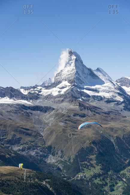 Paraglider, Matterhorn, Zermatt, Switzerland landscape image