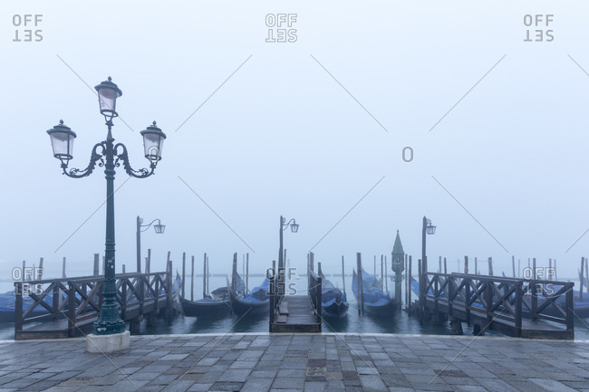 Gondolas in the fog, Venice, Italy
