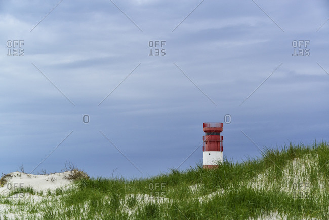 Lighthouse on dune, Helgoland, Schleswig-Holstein, Germany