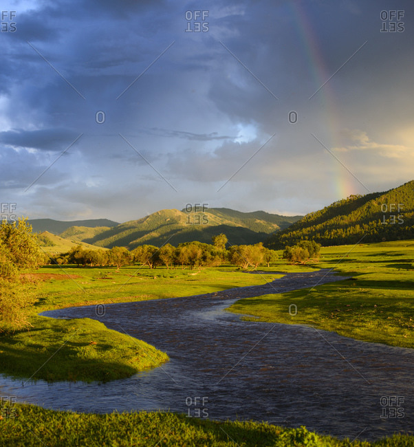 River in the Mongolian steppe, Mongolia