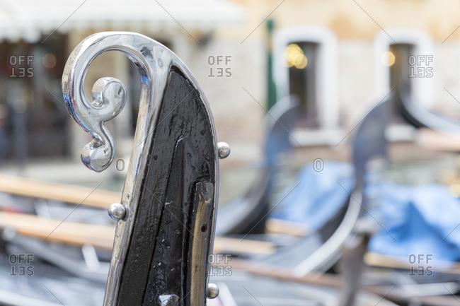 Stern of a gondola, Venice, Italy