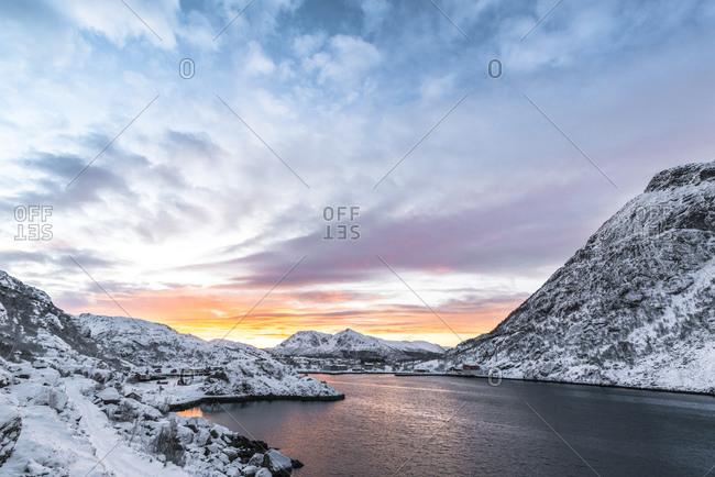 Sunrise over Straume Bay, Vesteralen, Norway