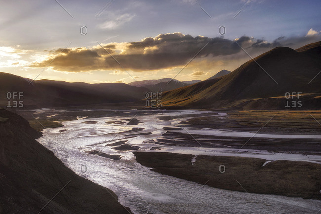 Sunset at 4400 m. Tibetan plateau