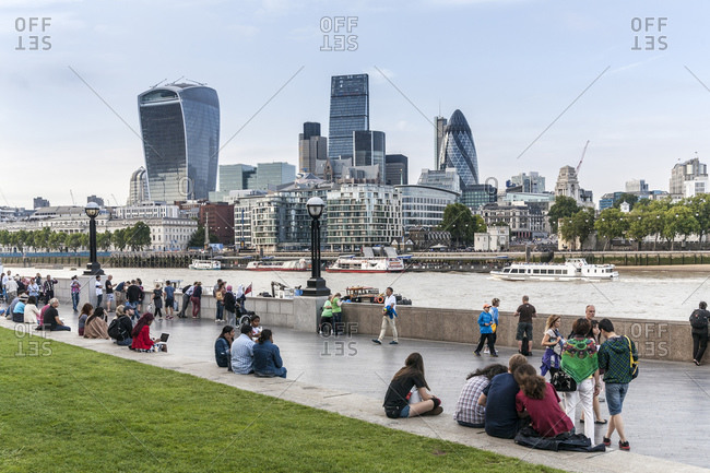 August 12, 2015: Southwark waterfront, London, UK