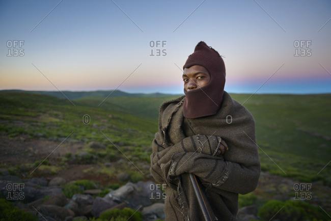 February 14, 2015: Basotho Shepherd, Lesotho, Africa
